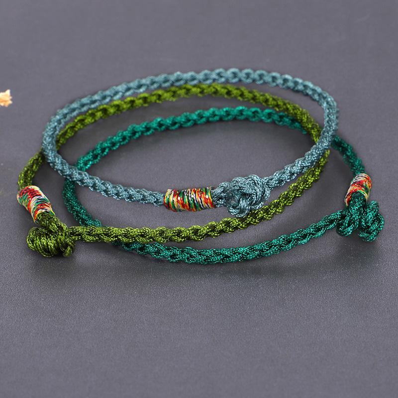 Fehame chanceux tibétains Cordes Bracelets Bangles pour Femmes Hommes main Tassel Nœuds fil corde Bracelet Bijoux ethnique