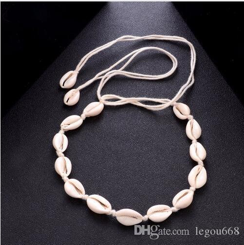 Bohemio collar de borla de playa Natural Sea Shell gargantilla collar de cadena collar Boho mujeres joyería de playa de verano Shellhard GB757