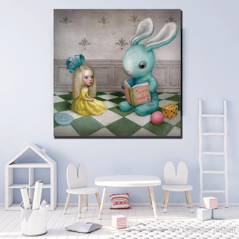 The Rabbit Is Reading books To Girl Canvas Painting POP Wall Art Street Poster Print HD Picture for Living Room Home Decor Artwork