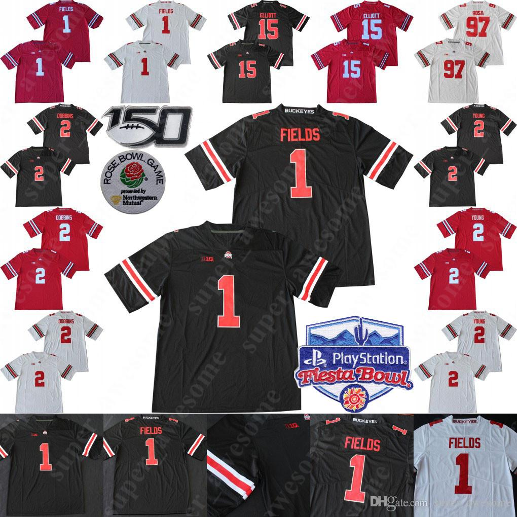 2020 Fiesta Bowl Ohio State Buckeyes Justin Fields Jersey JK Dobbins 2 Chase Young Nick Bosa 15 Elliott OSU Football Jerseys 150TH Men Youth