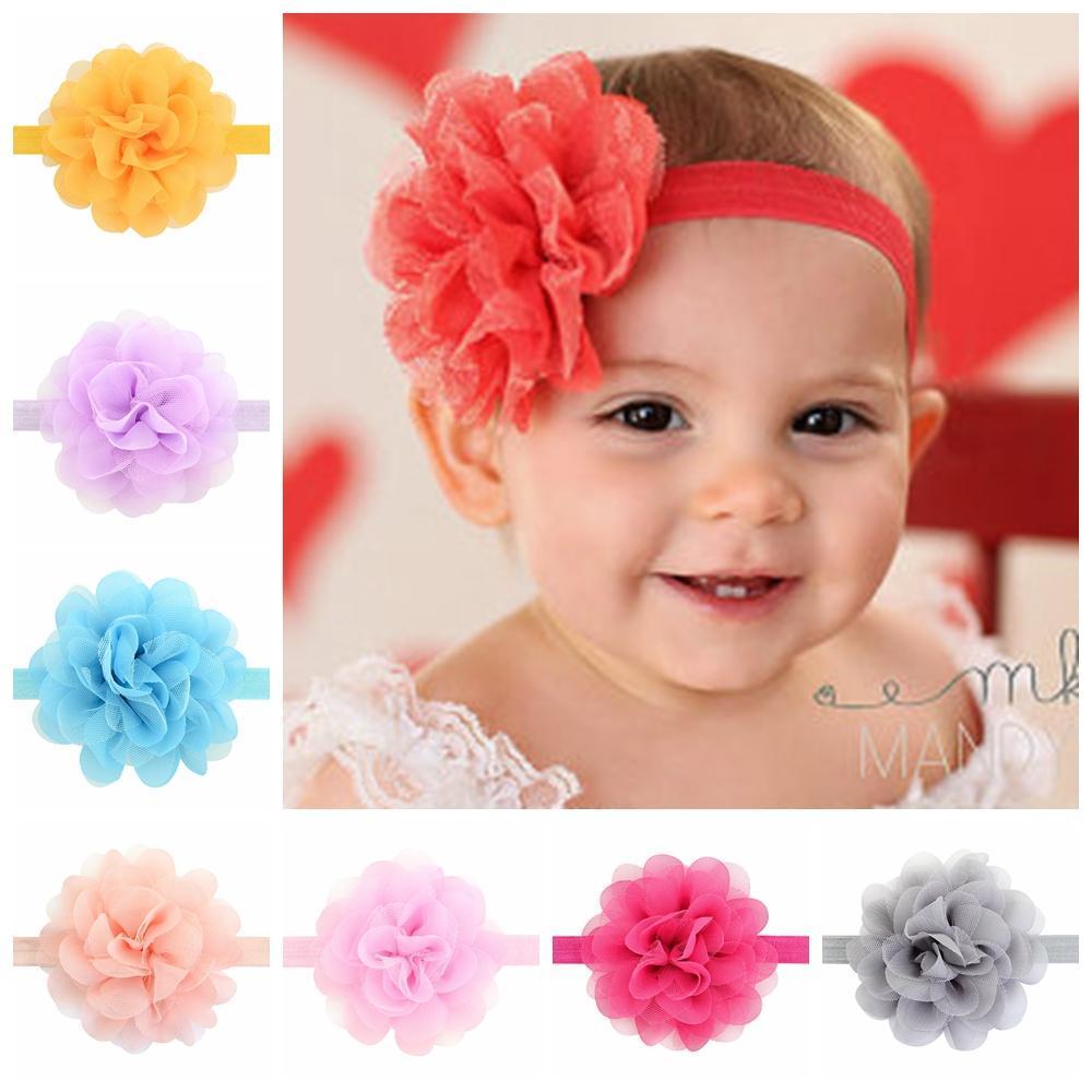 Kız bebekler 721 için 12pcs / Lot Elastik Kafa Net İplik şifon Çiçek saç bandı Çocuk Saç Bandı Kızlar Saç Aksesuarları