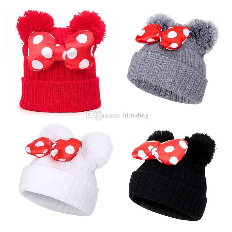 4 Colors Baby Pom Pom Beanie Cap Toddler Kids Baby Girls Winter Warm Crochet Knitted Hat Double Fur Ball Dot Bow Printed Bow Hats M748