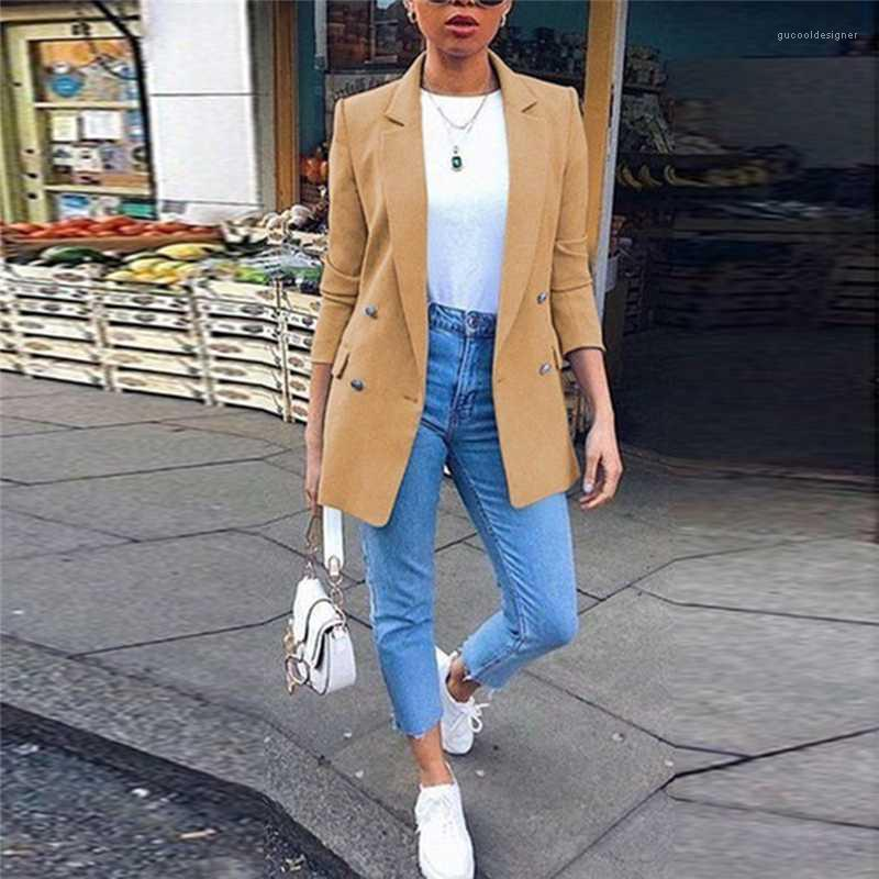 Blazers Lapel Neck Double Breasted Ladies Suits Fashion Three Quarter Sleeve Female Clothing with Pockets Womens Designer Solid
