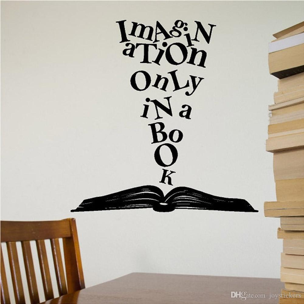 Imagination Only In A Book Wall Decal Book Vinyl Wall Sticker Lettering Reading Words Wall Stickers Home Decor Living Room