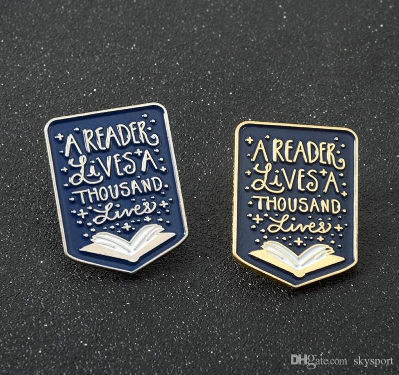 A Reader Lives A Thousand Lives Quote Book Lover Reading Enamel Pin Badge Gift
