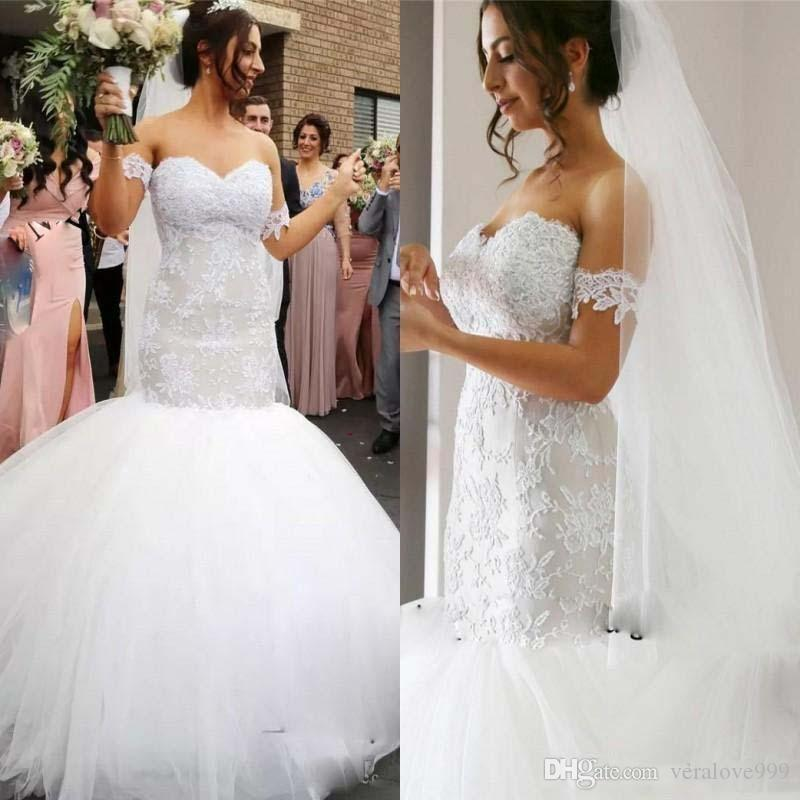 봄 여름 인어 웨딩 드레스 분리형 반팔 레이스 아플리케 해변 웨딩 드레스 저렴한 투투 얇은 명주 얇은 가운