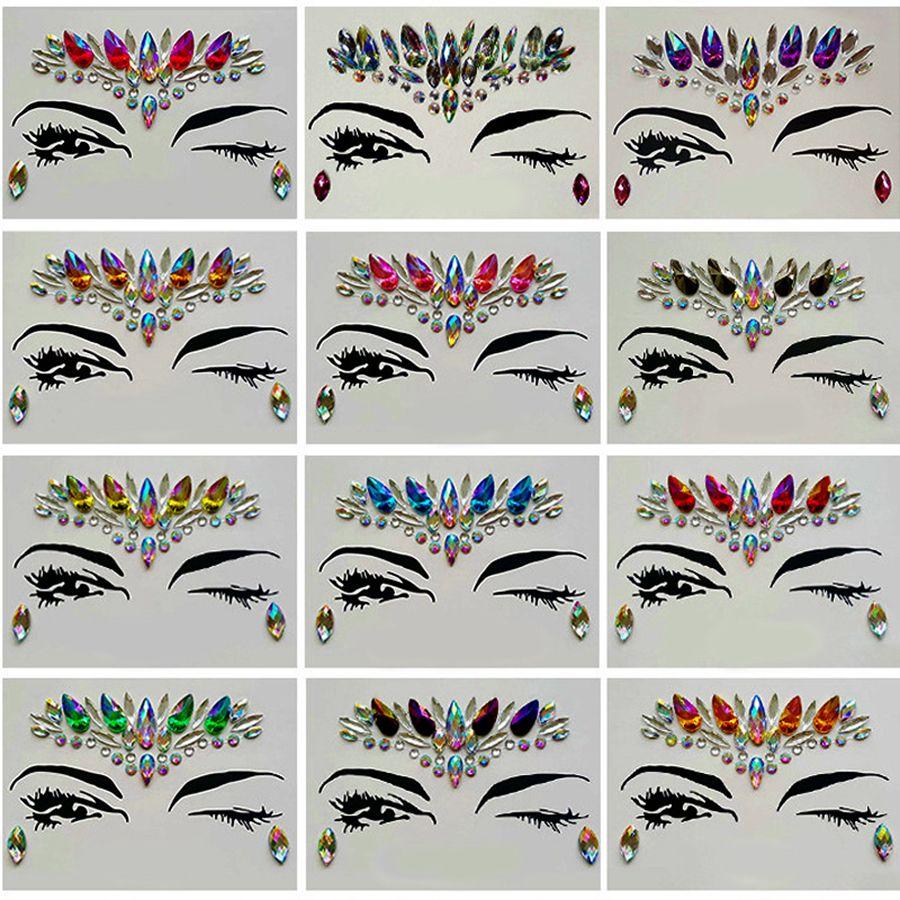 الماس ملصق بوهيميا نمط بريق الكريستال ملصقات الوشم للنساء الوجه الجبين المقرب الزفاف ديكورات 13 نمط RRA1183