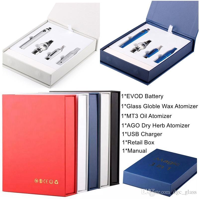 Magic 3 in 1 E Cigarette Starter Kit Dab Pen Wax Vaporizer 650mAh 900mAh 1100mAh Vape Pen EVOD Battery MT3 AGO Glass Globle Vape Cartridges
