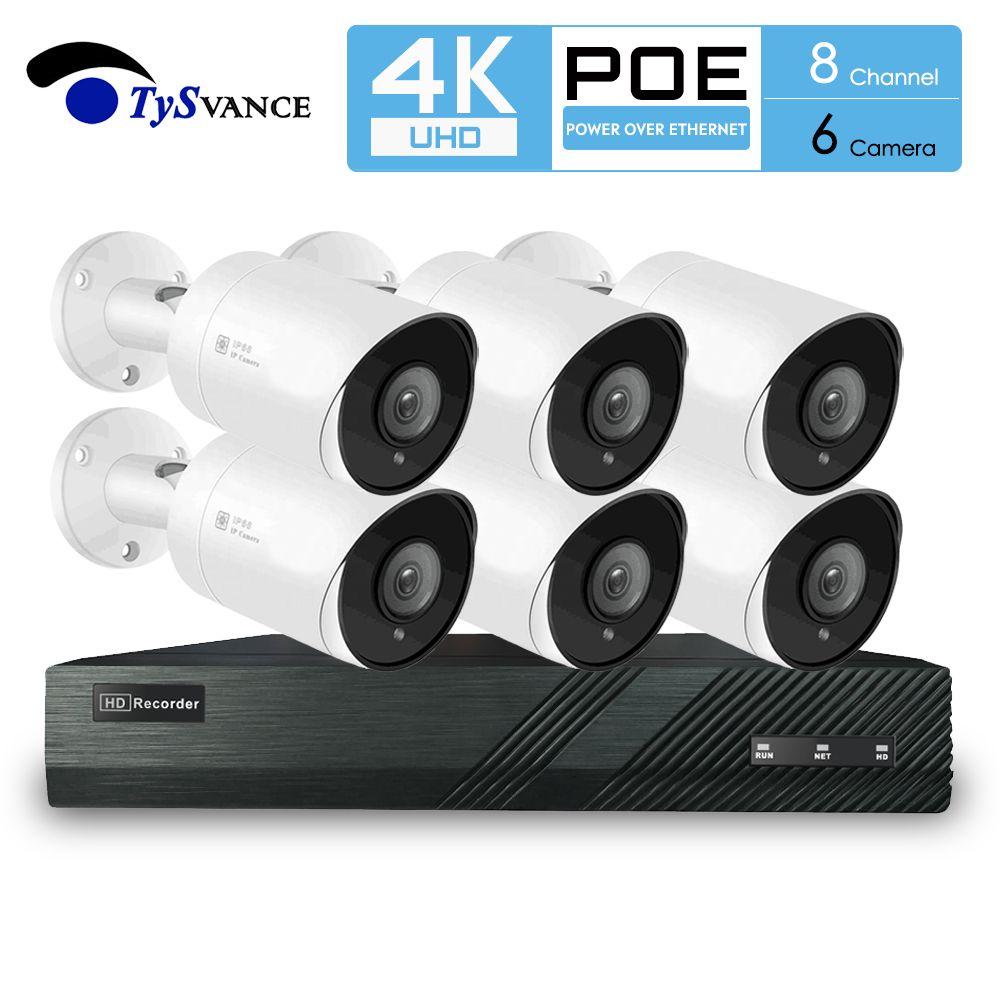 TySvacne 8MP 4K 울트라 HD 보안 카메라 시스템 8 채널 증서 NVR (6)의 PoE 총알 IP 카메라 감시 6CH NVR 키트
