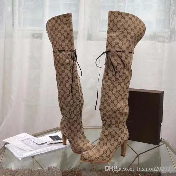 Vorsicht ! Branded Frauen Brief Print Canvas Overknee Stiefel Designer Lady Knot Leder Trim Gummisohle Oberschenkelhohe Stiefel mit Box