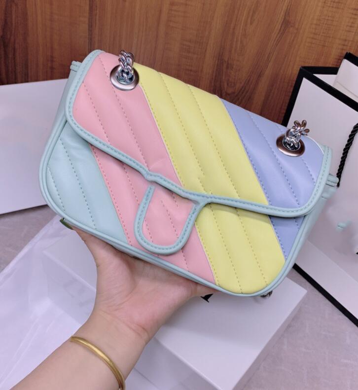 2020 Neue beste Frauen Mädchen Brieftasche Square Tasche Marke Schulter Luxus Check Leder Brief Rainbow Designer Taschen Clutch Mode Kleine NVGEM
