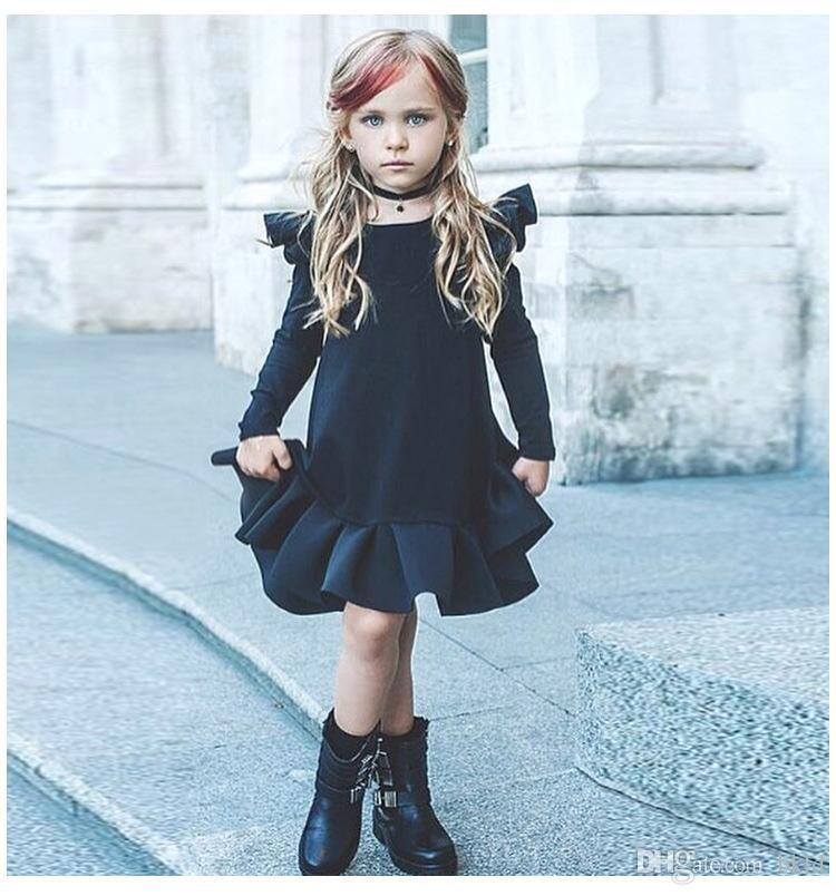 2018 ربيع فتاة اللباس حزب فساتين عيد الصلبة الكشكشة الخريف أطفال بنات ملابس كم طويل بطول الركبة فتاة اللباس