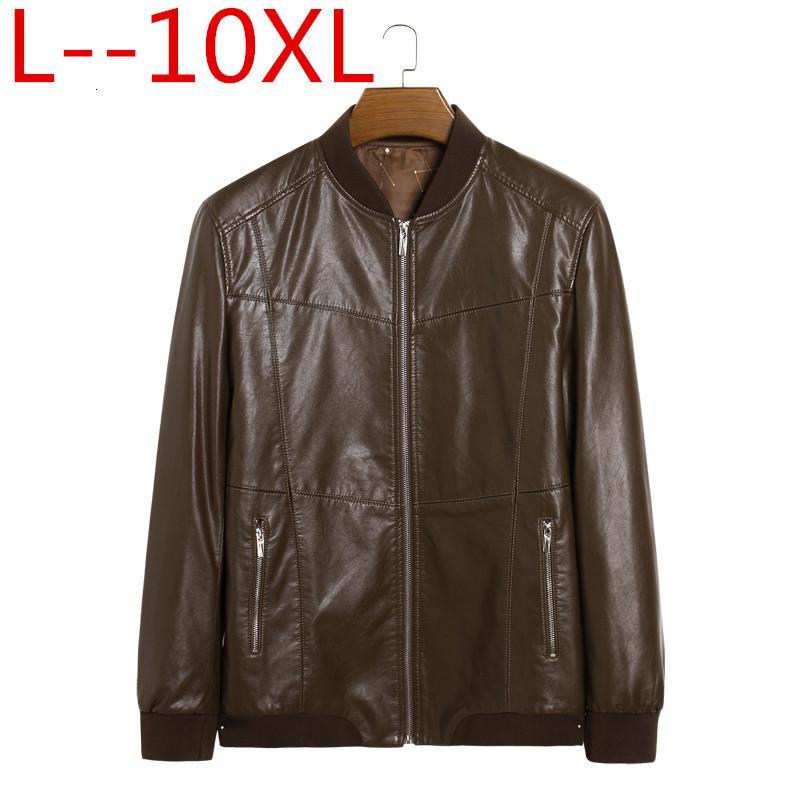 Véritable Veste En Cuir Hommes Manteaux Véritable En Peau De Mouton Marque Noir Mâle Moto En Cuir Veste Manteau D'hiver Plus La taille 10XL 8XL 6XL T190907