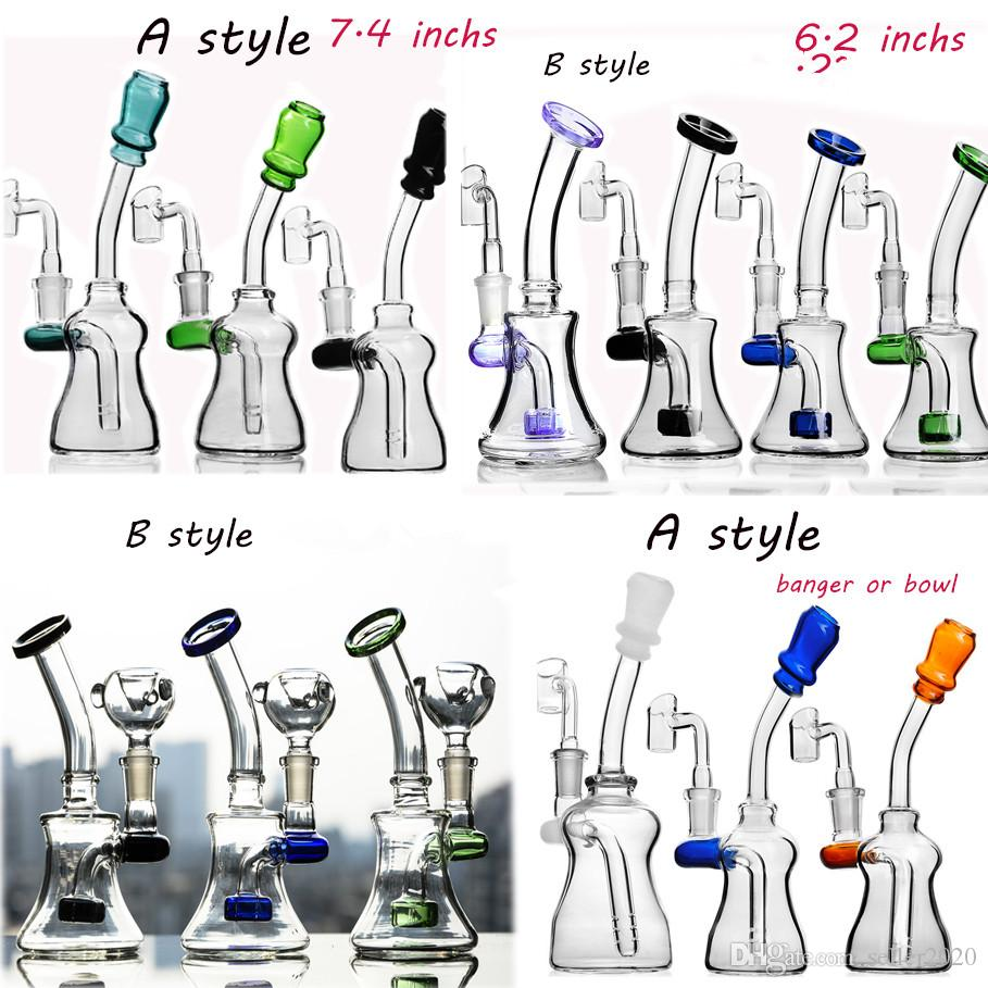 Colorful Glass Bong Water Pipes Smoke Heady Dab Rigs Beaker Bong Oil Rigs Water Bongs Hookahs Recycler With 14mm Joint