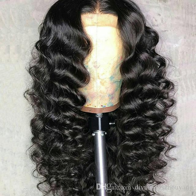 Peluca frontal de encaje 360 Onda suelta y rizada para mujeres negras Pre arrancado con cabello de bebé, sin cola 180% Densidad 360 Peluca delantera de encaje 360