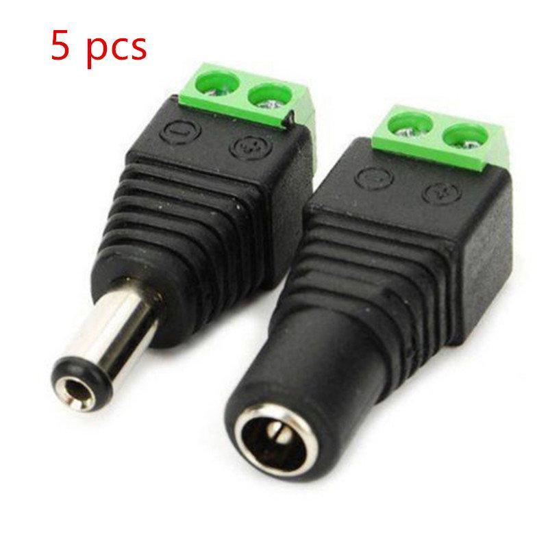 저렴한 커넥터 5PCS 여성 +5 개 남성 DC 커넥터 3528/5050/5730 주도 스트립 조명 2.1 * 5.5mm 전원 잭 어댑터 플러그 케이블 커넥터