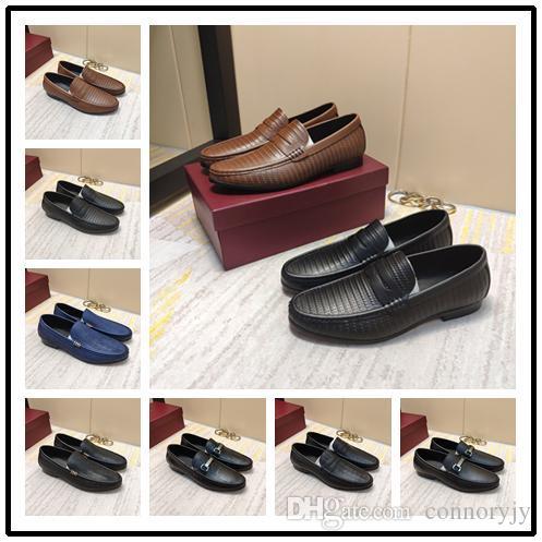 A1 New italiana qulity Shoes Casual per gli uomini Uomini scarpe di cuoio Tap Dance Uomini Brown Black Top di cuoio delle dimensioni 38-45 con la scatola