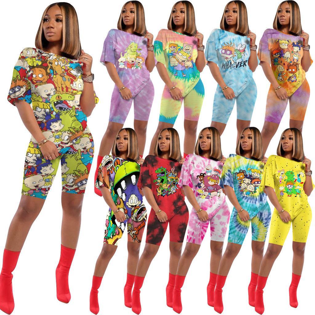 Diseñador de las mujeres de 2 pedazos imprimió la historieta camiseta de chándal traje pantalón corto Tie Dye T bragas de la camisa Verano Vestimenta informal 898