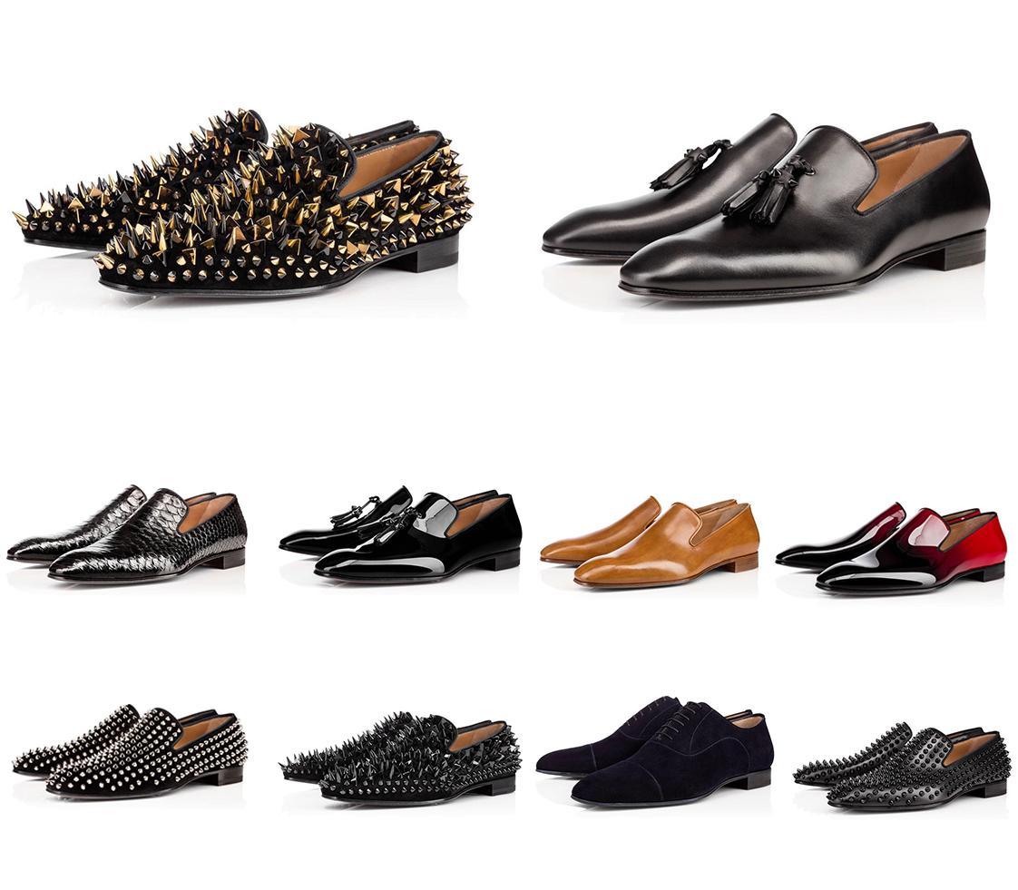 남성 명품 신발 파티 웨딩 크리스탈 가죽 Sneake 2020 최신 디자이너 스니커즈 붉은 바닥 신발 로우 컷 스웨이드 스파이크 신발
