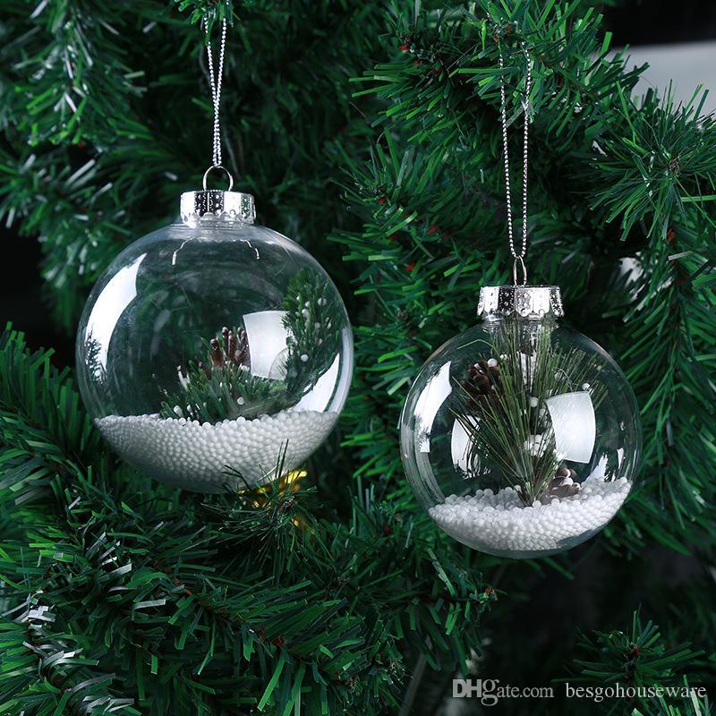 ديكور عيد الميلاد من البلاستيك الشفاف الكرة شجرة عيد الميلاد الديكور قلادة كرات DIY فيلابل إفراغ مسح الكرات ديكور شجرة عيد الميلاد الحلي BH0129 TQQ