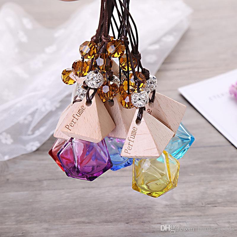 Mini voiture pendaison bouteille de parfum verre parfum bouteilles vides assainisseur d'air huiles essentielles diffuseur parfum conteneur voiture décoration