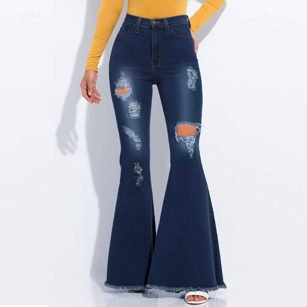 Designer Flare All Match Popular Ladies Wide Leg Four Seasons Casual Modern Female Jeans Holey Flexible Women