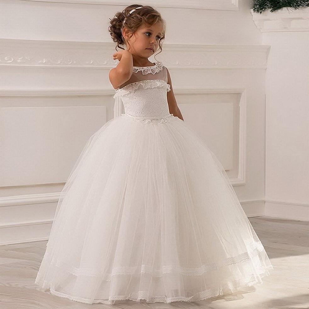 2020 Cheap Cute Girl Vestidos para casamentos vestido de baile Tulle Lace frisado longa Primeira Comunhão Vestidos Pouco vestidos Gimmunion