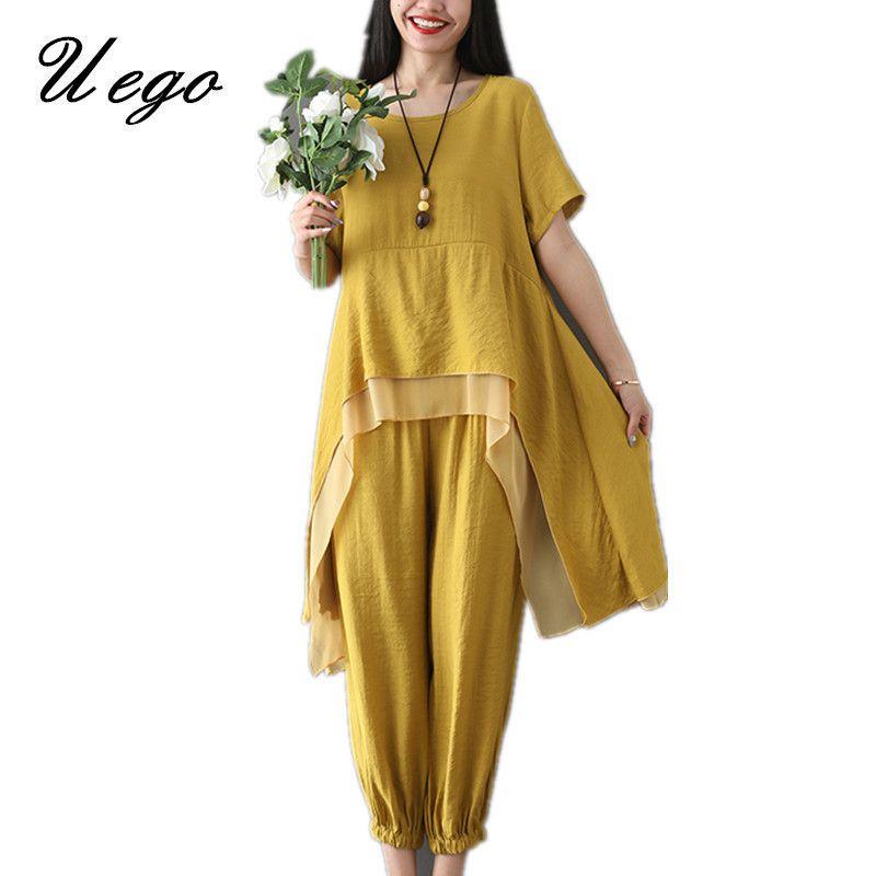 Uego Cotton Linen Women Sets Loose Tops+Pants Two Piece Sets Women Casual Set Plus Size 2019 New Lady Summer Clothes Suits Sets T5190610