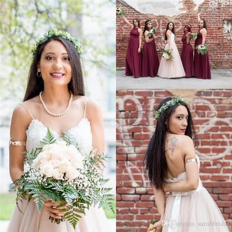 2019 Spaghetti Vestido de Noiva Vintage Wedding Dress Backless with Sash Back Tulle Wedding Casamento Robe De Mariee