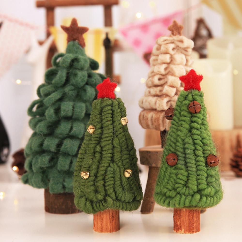 Weihnachtsbaum-kleine Verzierung Mini Painted Christmas Tree Decorations Wooden Card-Dekorationen des neuen Jahres für Haus