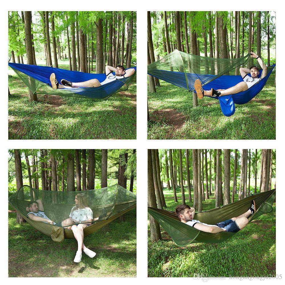 Completamente automatico rapido letto apertura amaca netta tenda di campeggio esterna Giardinaggio Camping Altalena panno paracadute di nylon da campeggio amaca anti-zanzara