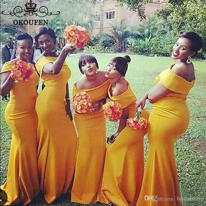 Senape giallo sirena damigella d'onore abiti lunghe Nigeria African Bateau Neck Sweep Train Plus Size Long Maid of Honor Garden Garden Abiti