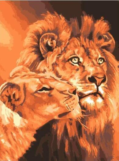 Lion Kings - Paint By Numbers Kits For Adults Diy Diy Picture Art Kits Draw On Canvas Wall Art High Quality Canvas Coloring By Number