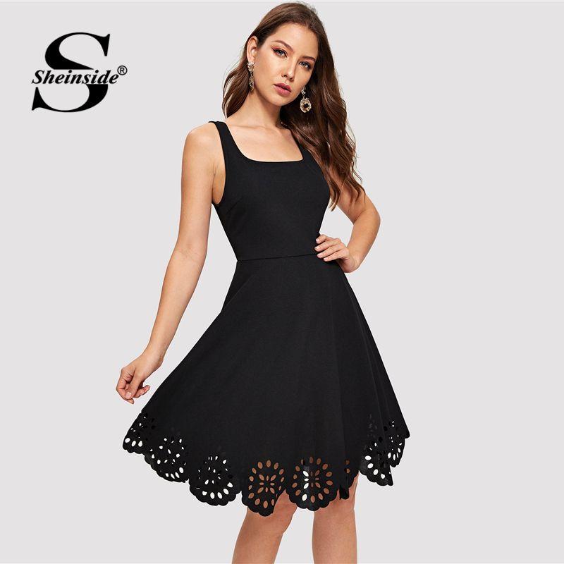 Sheinside Black Scalloped Hollowed Out Dress Women V-Cut Back Sleeveless Party Dresses Summer Elegant Square Neck A Line Dresses