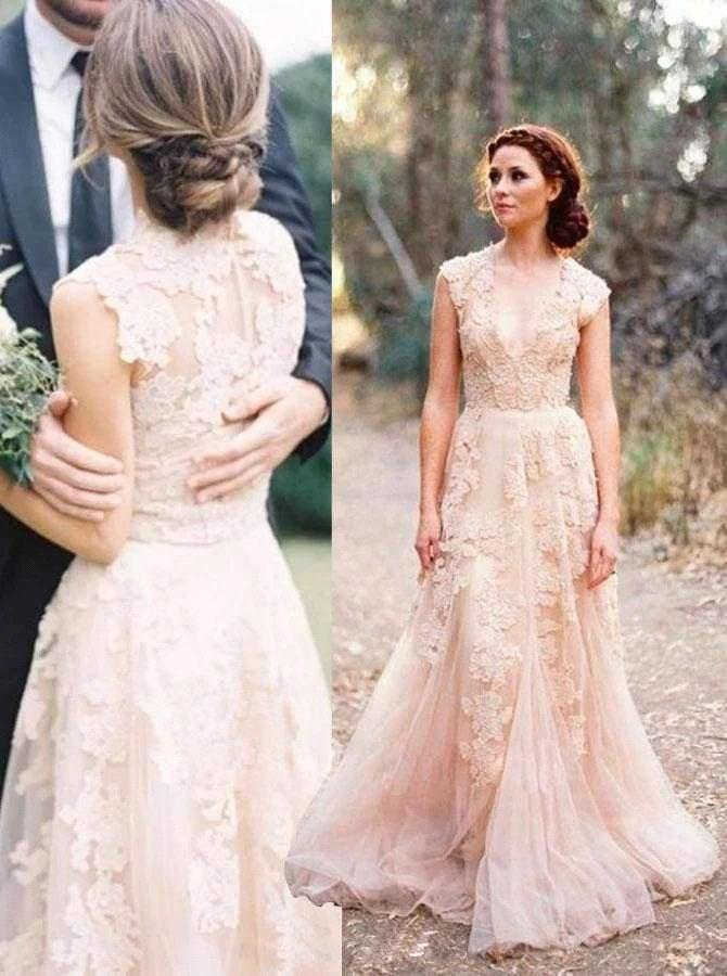 2020 Berta Wedding Dresses Lace V Neck Cap Sleeves A Line Bridal Dress Plus Size Beach Country Simple Wedding Gowns BC3066