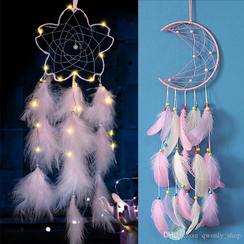 Pink Dream Catcher Flower Moon Mini Handmade Craft Home Hanging Room Decoration Feathers Girls Room Decor Dreamcatcher LED Party Decoration