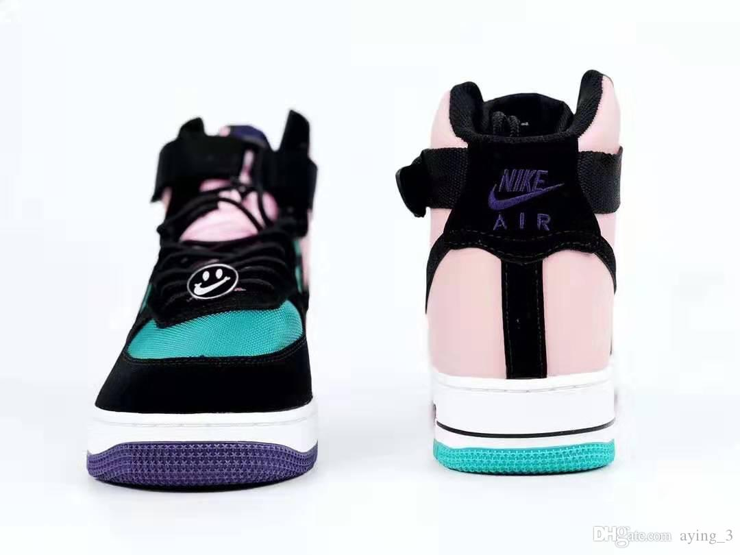 Fashion New Air Force 1 Af1 Air Force One Black Blue Pink Smiley