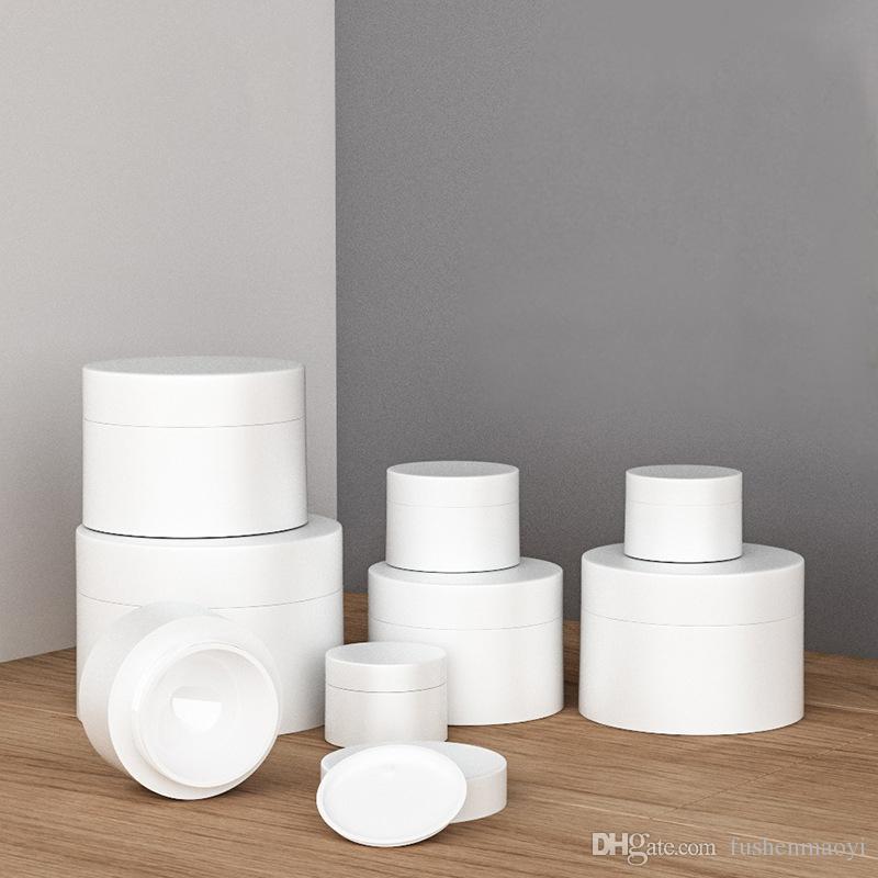 مستحضرات التجميل جرة بلاستيكية بيضاء الجرار فارغة BPA الحرة جولة جرة زجاجة وجه كريم غسول عينة حاوية بلاستيكية مع المتشددين الداخلية البيضاء