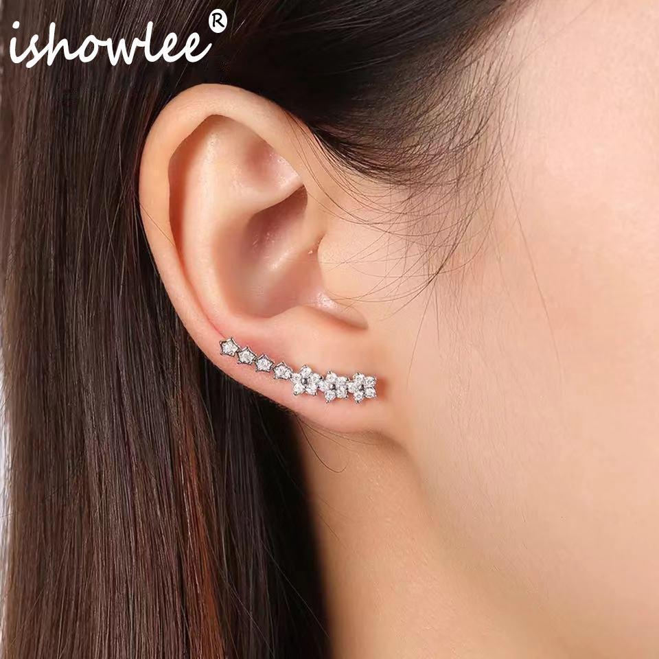 Taşlar Moda Takı esd16 ile Fancy Wrap saplama Kore Küpe Vintage Kristal Kawaii Kübik Zirkon CZ Kulak Manşet Sevimli Küpe