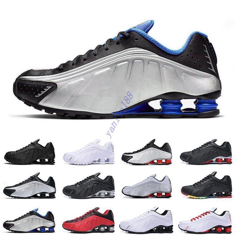 Top qualidade Running Shoes Cor metálica entregar R4 Mens Chaussures OZ NZ 301 Sports Sneakers Black White Aumento Almofada Zapatillas 40-46