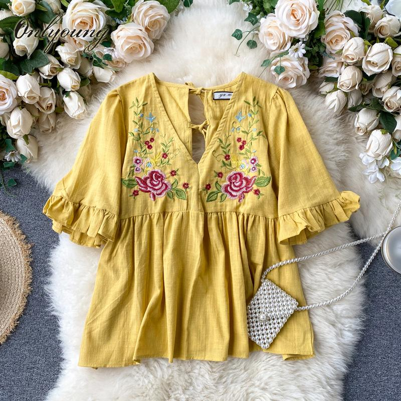 Onlyoung 2020 Summer Women Floral Blouse Shirt Short Sleeve Flower Embroidery Yellow White Blouse Sexy Tops