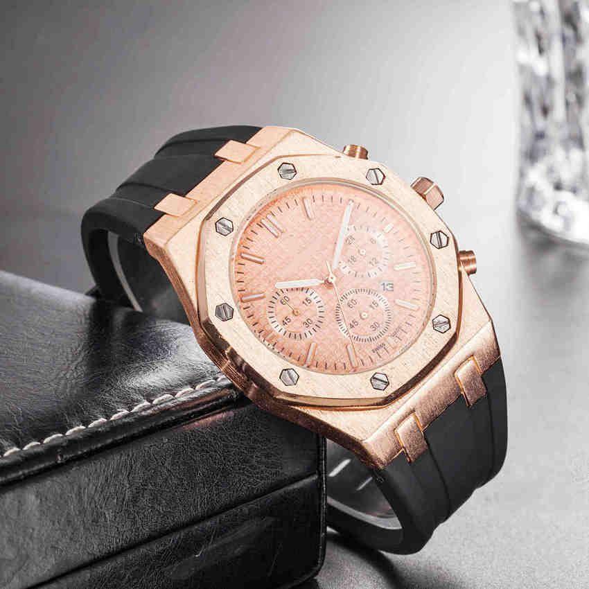 HotSale Rose Assista Ouro Pulseira De Borracha Preta Dos Homens de Negócios Calibre Casuais 36 Banda de relógio de Moda 22mm Sports man Designer Relógios de Pulso