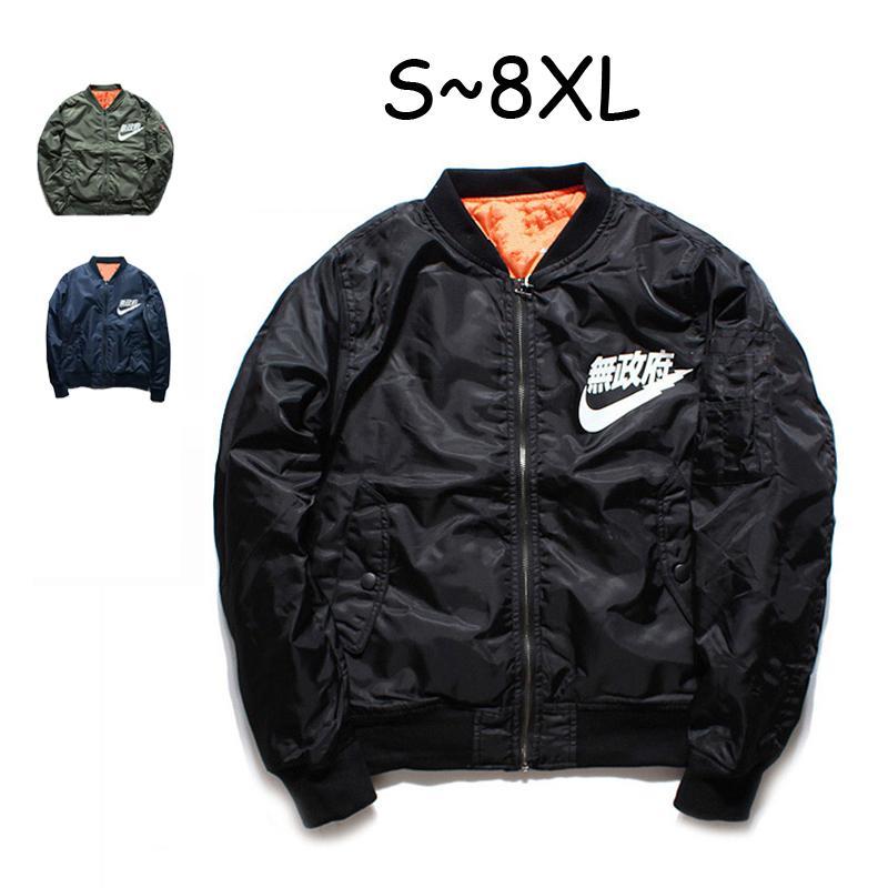 Ma1 bombardier Veste hiver Pilot Anarchy vêtement hommes Army Green Merch Coat Flight Streetwear imprimé Taille Plus S-8XL