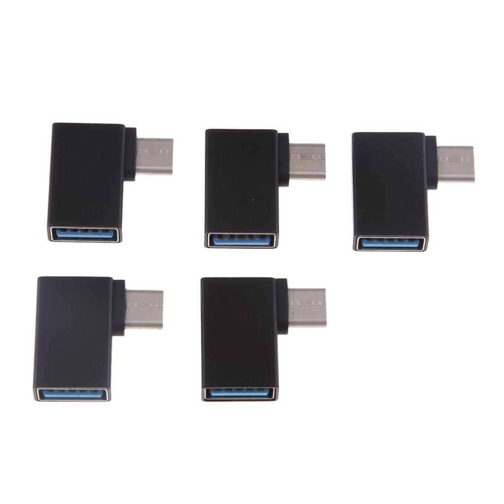 5Pieces USB tipo C a USB 3.0 Adaptador de aluminio para Macbook Pro 2017/2016, el MacBook de 12 pulgadas y otro tipo C OTG Dispositivos