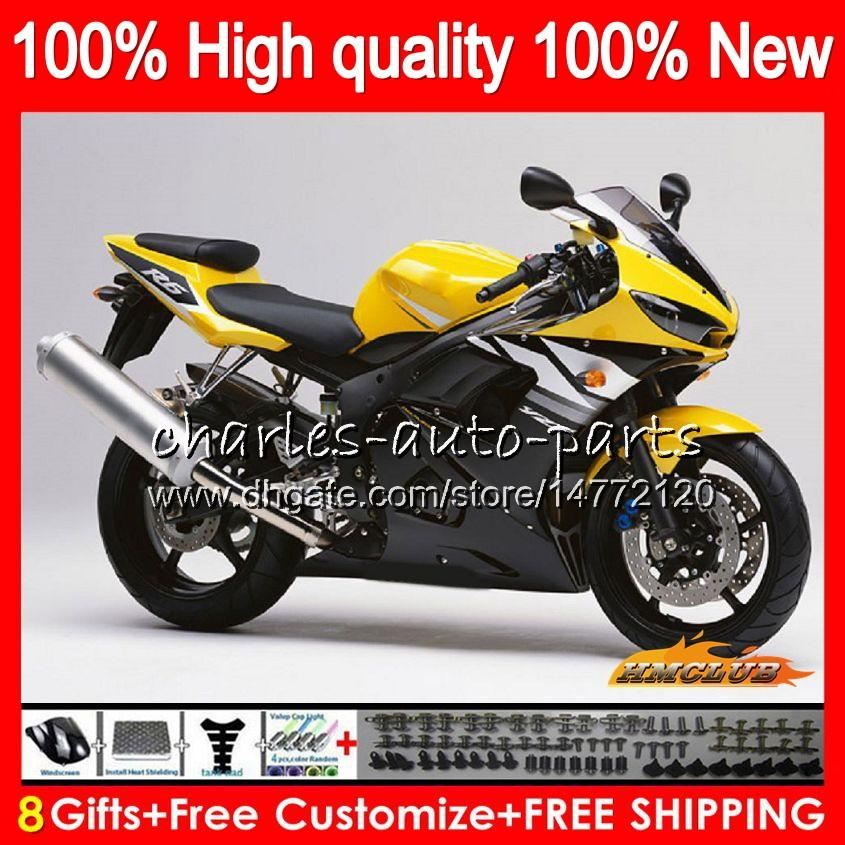 Body+8Gifts For YAMAHA YZF R6 S YZF600 YZFR6S 06 07 08 09 60HC.90 YZF-600 YZF R6S 06-09 hot yellow YZF-R6S 2006 2007 2008 2009 Fairing Kit