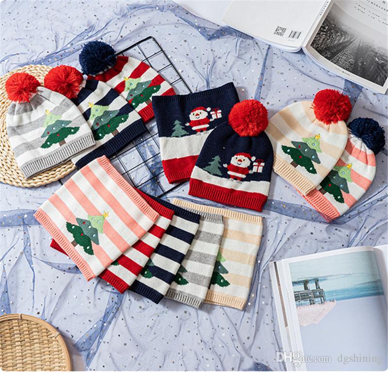 Favore bambini Albero di Natale della sciarpa del cappello dei bambini di lavoro a maglia di lana del cappello del fumetto della sciarpa dei bambini stabiliti inverno caldo Cap Festa di Natale