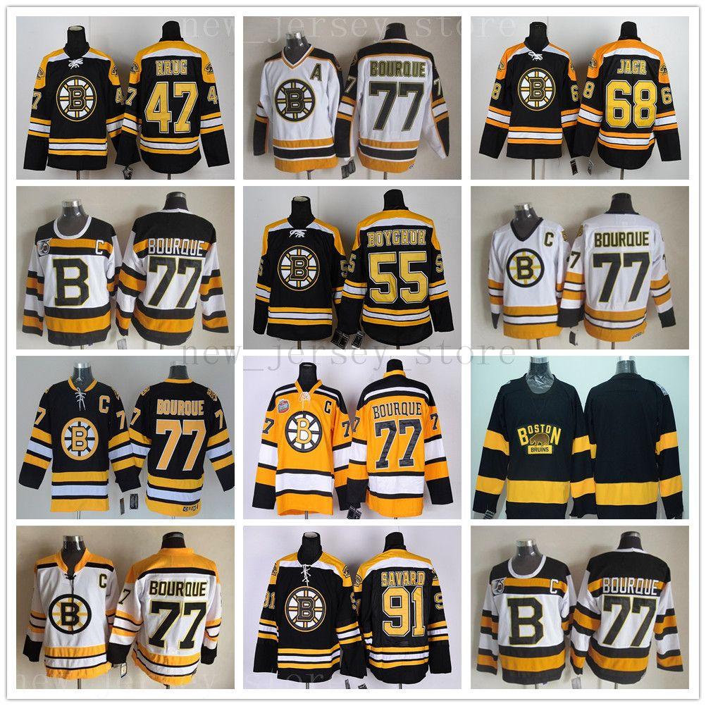 빈티지 CCM 75th 보스턴 Bruins 77 레이 Bourque Jersey Hockey Old Rd 91 Marc Savard 68 Jaromir Jagr Johnny Boychuk Torey Krug 유니폼