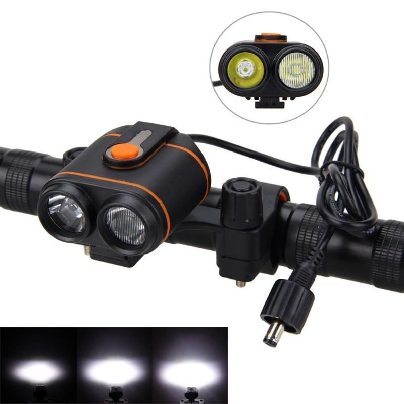 USB Rechargeable Handlebar Bike Lights 5000LM 2X T6 LED Cycling Lamp with Built