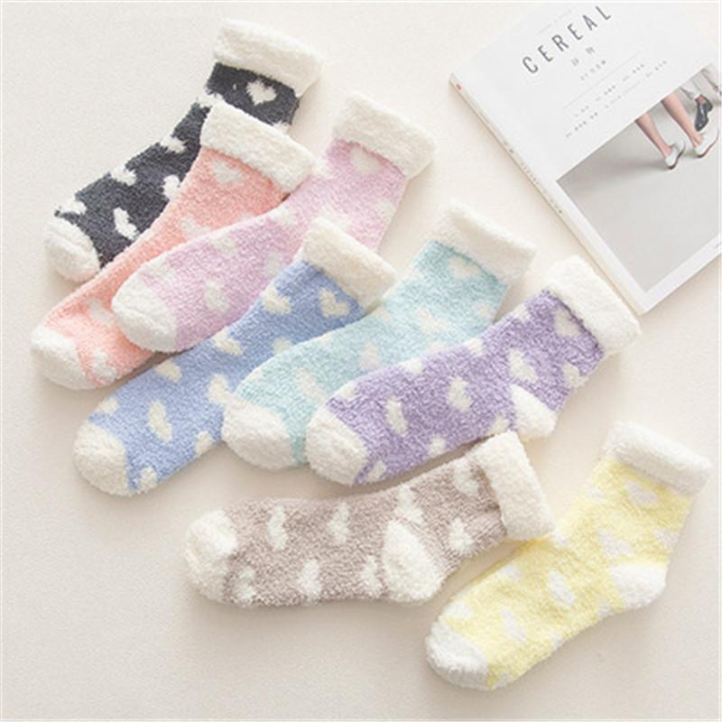 Free DHL Fashion Women Girls Casual Towel Fuzzy Thick Socks Candy Colors Winter Warm Slipper Soft Smooth Coral Fleece Socks Stockings M320Y