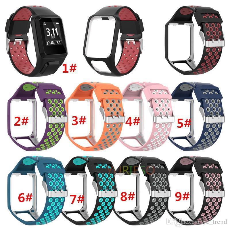 Nuova cinturino dell'orologio cinturino da polso in silicone bicolore per TomTom Runner 2 3 Spark 3 GPS Tracker Fitness